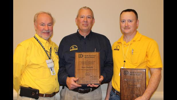Pictured, from left, are SC Baptist Disaster Relief Director Randy Creamer; award winner Steve Shumake of Sumter; and award winner Avery Fox of Clinton.